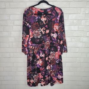 Simply Be Pink Purple Floral Drop Waist Dress